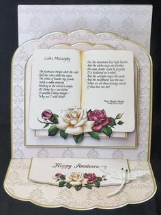 Loves Philosophy Poem Book Roses Easel Card Kit on Craftsuprint designed by Jean King - made by Michelle  Chivers - Printed envelope onto 120gsm card, the card base onto 200gsm card and all other sheets onto matte coated paper. I followed the very easy instructions. I added a white dragonfly. - Now available for download!