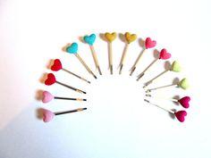 Fabric heart bobby pin-heart button hair pin-bobby by colorsplashh Heart Button, Baby Headbands, Hair Pins, Bobby Pins, Fabric, Tejido, Hairpin, Hairpin, Fabrics