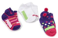Puma Socks - United Legwear Girls 2-6x 3-Pack Fashion No Show Q3 Socks, Black/Purple, 6-7.5 $10.00 - $10.08