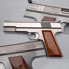 "SOKOLOVSKY AUTOMASTER PISTOL: This pistol has been called the ""Rolls-Royce"" of auto pistols, and while less than 50 were made, this seven-shot .45 has a number of unique features. With no screws, the walnut grip panels retains its smoothness, and the integrated three trigger system regulates functions for magazine release, firing and safety."