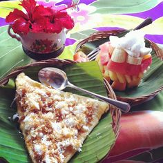 banana pancakes with coconut and fresh fruit. breakfastwonders in bali www.rudisbalitours.com