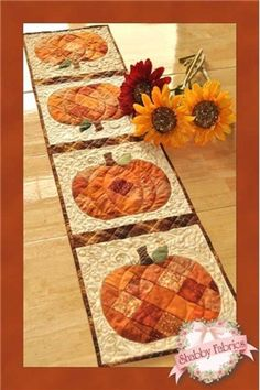 PATCHWORK PUMPKIN TABLE RUNNER Shabby Fabrics Table pattern Quilting   #Shabbyfabrics Cute idea...just make some patchwork - squares, diamonds, triangles...whatever and cut the pumpkin or other shape out of it for applique!  I like the scrappy look.