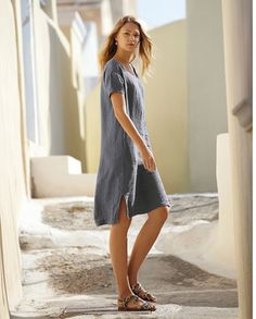 Poetry - Crinkled Linen Dress - This summer shift dress is in our cool, crinkle linen that has a soft, laundered appearance. A great, go-to dress with a scoop neckline and neat short sleeves, the hemline is slightly longer at the back. 100% linen