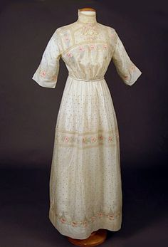 Pastel Embroidered Arts & Crafts Dress, 1913