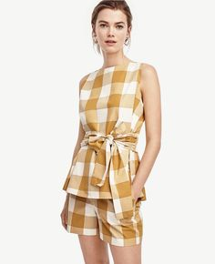Ann Taylor - Belted Gingham Shell, women, fashion, clothing, clothes, style