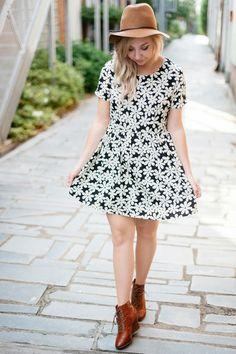 daisy print dress + tan boots