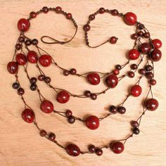 Red Bib Necklace with Acai Seeds Multistrand by ArtisansintheAndes