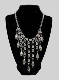 Silver Byzantine Half Moon Dangle Chainmaille Necklace