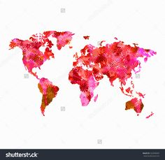 World map in red full of flowers for a happy world