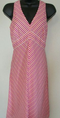Ann Taylor Women's Sundress Size 0 Chevron Pink & Orange V-Neck  #AnnTaylor #Sundress #SummerBeach