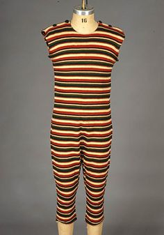 Colorful Striped Wool Bathing Suit, c. 1910  Session 2 - Lot 710 - $1,200