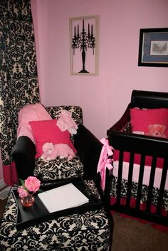 cant go wrong with black, white and pink for your little girl's room