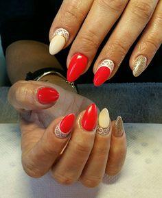 #acrylic #long #almond #nails #coral #gold #white #nailart #summer