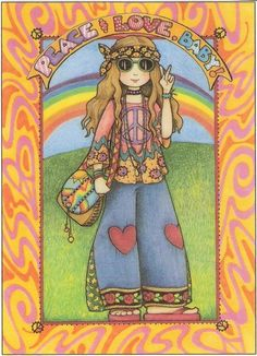 Peace Love Baby Hippy Girl Peace Sign Heart Jeans Magnet Mary Engelbreit Art | eBay