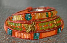 Orange Beaded Wrap - Beaded Leather Triple Wrap Bracelet, Anklet, Head Band or hat band with glass beads. T02