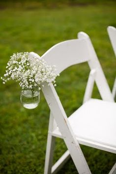 Aisle-small jar hanging from chairs with purple hydrangea or mix of wildflowers/lavender?
