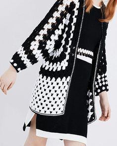 now available online 💻🏁💟💻🏁💟 Light weight sporty Monochrome knits in a Cotton Merino blend teamed with our Super soft Pima cotton asymmetrical Cardy Crochet Bolero, Crochet Cardigan Pattern, Crochet Jacket, Crochet Blouse, Crochet Poncho, Crochet Patterns, Crochet Granny, Moda Crochet, Diy Crochet