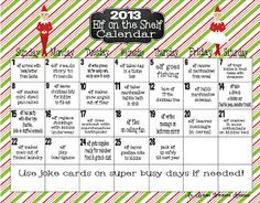 2013 Elf on the Shelf Idea Calendar