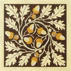 Melissa Shirley Designs | Hand Painted Needlepoint | Vintage Acorns & Oak Leaves by lolita