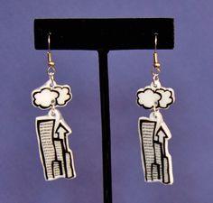 Cityscape Earrings -  Shrinky Dink - Shrink Plastic - Clouds