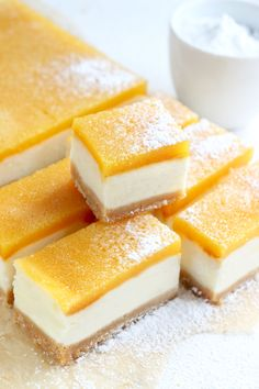 Looking for something sweet and refreshing that uses Duncan Hines Lemon Supreme Cake Mix? Try these tangy Lemon Bars. Jazz them up with few of your favorite berries sprinkled on top, such as fresh raspberries or blueberries. Lemon Desserts, Köstliche Desserts, Delicious Desserts, Dessert Recipes, Yummy Food, Easter Recipes, Cake Mix Recipes, Cookie Recipes, Baking Recipes