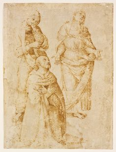 RISD Museum: After Perugino, Italian, ca. 1450-1523. Study of Three Figures (saint Augustine, Saint Monica, and the Virgin Mary), ca. 1506. Pen and ink on paper. 26.7 x 19.8 cm (10 1/2 x 7 13/16 inches). Museum Appropriation Fund 35.009