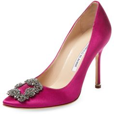 Manolo Blahnik Women's Studded Hangisi High Heel Pump - Pink, Size 37 ($769) ❤ liked on Polyvore featuring shoes, pumps, pink, pink high heel pumps, synthetic shoes, studded pumps, high heel shoes and manolo blahnik shoes