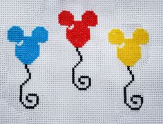 Cross Stitch Letters, Cross Stitch Heart, Cross Stitch Cards, Beaded Cross Stitch, Cross Stitch Borders, Cross Stitch Designs, Cross Stitching, Mickey Mouse Balloons, Disney Stich
