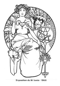 Kleurplaat naar Alfons Mucha *Colouring Picture A.Mucha-like ~Exposition universelle et internationale de St Louis 1904~