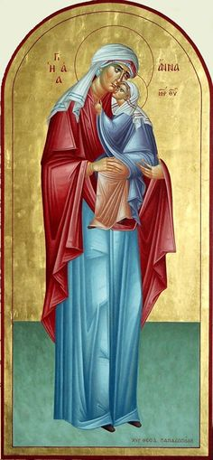 Anna__ mother of Theotokos_dec 9 Religious Pictures, Religious Icons, Religious Art, Byzantine Icons, Byzantine Art, St Margaret, Queen Of Heaven, Santa Ana, Religious Paintings