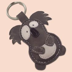 Cute Little Gray Koala Leather Animal Keychain FREE by snis