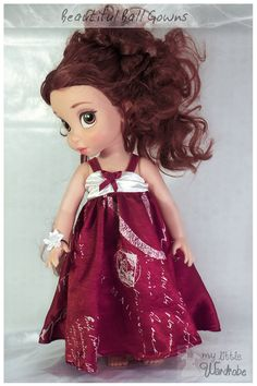 Red and White ball gown and flower corsage for Disney Animators Doll! Visit My Little Wardrobe on etsy now!
