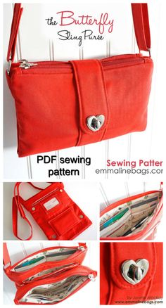 Download the pdf sewing pattern. The Butterfly Sling Purse features two exterior zipper pockets, a professional looking closure strap and a long, adjustable, cross body strap. The surprise is on the inside! When you open just the closure strap only, you can access both a slip pocket and an internal zipper pocket, perfect for coins and bills.