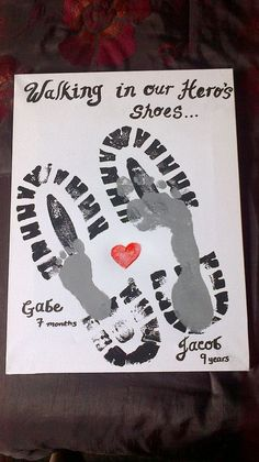 "29 Footprint of Father and Son with Heart and Slogan ""Walking in My Hero's Shoes"""