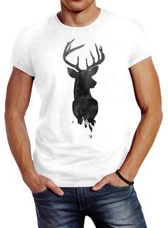Herren T-Shirt Hirsch Geweih Kopf Deer Watercolor Polygon Tier Slim Fit Neverless® Unisex, Herren T Shirt, Slim Fit, T Shirts For Women, Mens Fashion, Mens Tops, Animals, Man Fashion, Moda Masculina