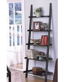 @Overstock.com - Five-tier Antique Black Ladder Shelf - Display your favorite items on this unique five-tier ladder shelf. This shelving unit is made of solid wood with an antique black finish and provides shelves of different depths to hold the items you want to showcase without taking up extra space.  http://www.overstock.com/Home-Garden/Five-tier-Antique-Black-Ladder-Shelf/2041992/product.html?CID=214117 $94.99