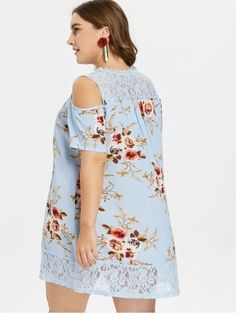Plus Size Floral Print Cold Shoulder Dress