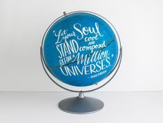 Celestial Globe Blue 12 inch Painted Whitman Quote Stars Constellations Space Galaxy Wild and Free Designs