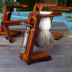 Wood Shaving Stand for Safety Razors: Burmese Rosewood $40