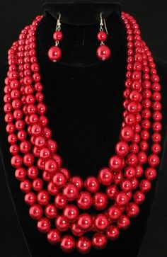 Red Pearl Multi-Strand Necklace with Earrings