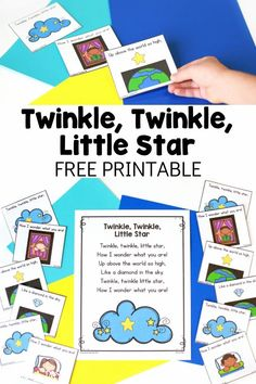 This free Twinkle Twinkle Little Star printable is perfect for preschool or kindergarten. The poem and retelling cards can be used in many ways! What a fun literacy activity for circle time. Nursery Rhymes Kindergarten, Free Nursery Rhymes, Nursery Rhyme Crafts, Nursery Rhyme Theme, Nursery Ideas, Preschool Poems, Rhyming Activities, Printable Activities For Kids, Free Preschool