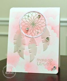 Beautiful card by JJ Bolton for the Paper Smooches Feb-14 blog hop … love the dreamcatcher and vellum feathers