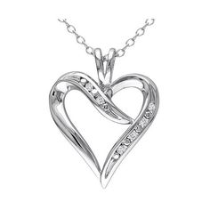 Allura . CT. T.. Diamond Heart Pendant in Sterling Silver ($65) ❤ liked on Polyvore featuring jewelry, pendants, wht, chain bracelet, diamond bracelet, sterling silver heart pendant, sterling silver anklet and heart shaped diamond pendant