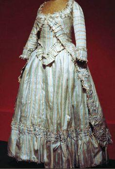 Robe a la polonaise, France, 1772, striped silk.| Les Belles de Mai.: Deux siècles de mode à Marseille