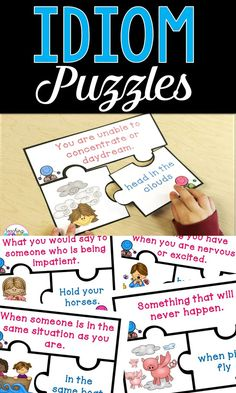 Use these idiom puzzles with your 1st, 2nd, or 3rd grade classroom or home school students. They will enjoy using these idioms activities during your grammar or ELA literacy centers, stations, or rotations. It's also great for review and early or fast finishers. These idiom puzzles for kids are a great lesson to help students master a tricky concept. {first, second, third graders, homeschool}
