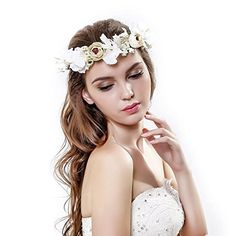handmade Rose Flower Wreath Crown Halo for Wedding Festivals ** Continue to the product at the image link.(This is an Amazon affiliate link and I receive a commission for the sales)