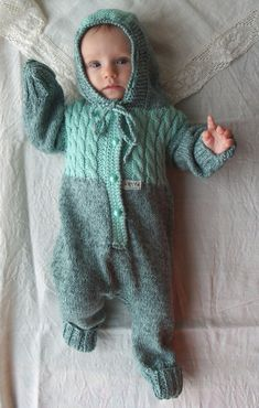Baby knitwear Hand knitted baby overalls turquoise by NesyBaby