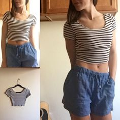 Stripe Crop Top H&M white and black stripe crop top. Like new! Size Small. Soft thicker material. Still very breathable ! Bundle this idea for a discount of 20% off! H&M Tops Crop Tops