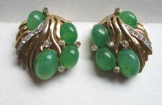 Vintage Rare Trifari Rhinestone Faux Jade Green Cabochon Clip Earrings #Trifari