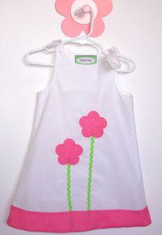 Sun dress flower appliquedToddler Girls Size 2T by GrandmasCouture, $21.00
